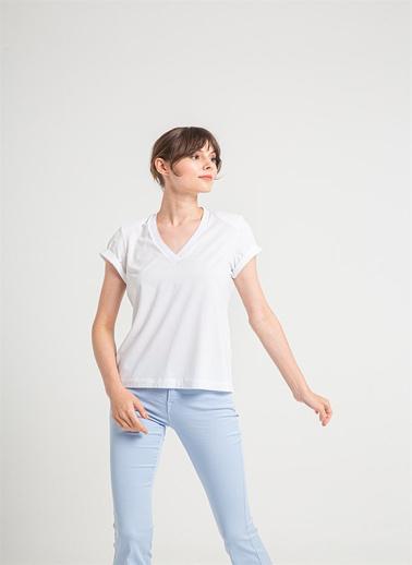 Rue Vatkalı V Yaka T-Shirt Beyaz